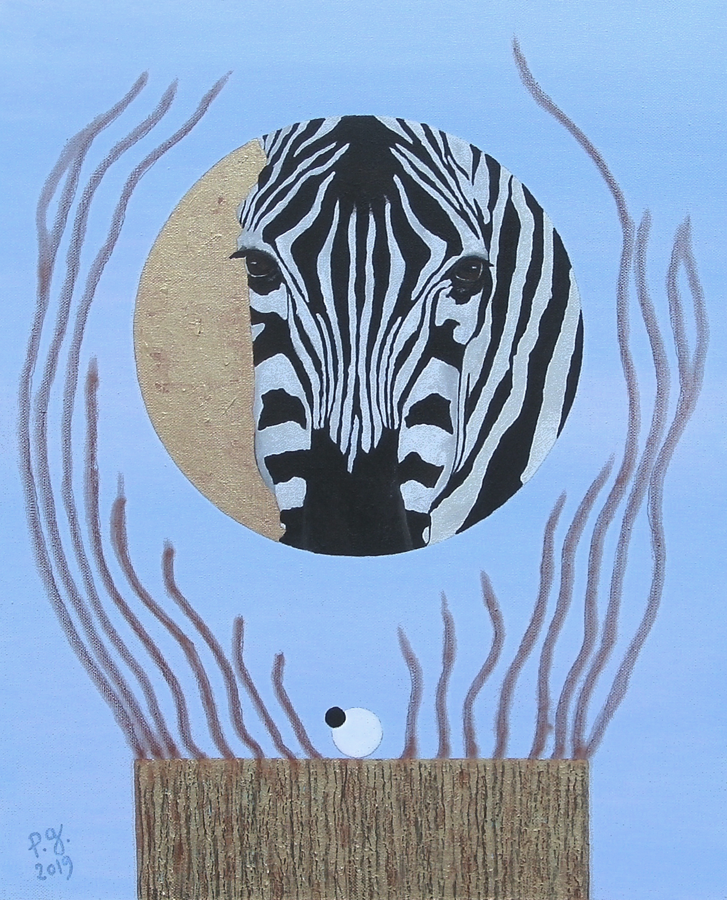"""Zebra And A Few Pieces Of String"" - patrick gourgouillat - 2019"